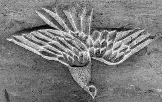 Die Taube auf der Ost-Seite des neuen Altars